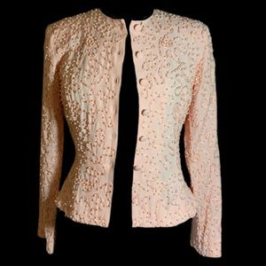 Blush pink jacket w blush ribbon & tiny pearls